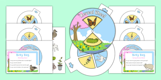 Spring Busy Bag Prompt Card and Resource Pack - Spring, baby animals, reveal wheel