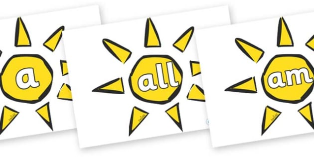 Foundation Stage 2 Keywords on Weather Symbols (Sun) - FS2, CLL, keywords, Communication language and literacy,  Display, Key words, high frequency words, foundation stage literacy, DfES Letters and Sounds, Letters and Sounds, spelling