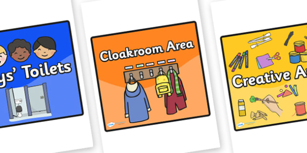 Editable Square Classroom Area Signs - Coloured Background (Black Border) - Classroom Area Signs, KS1, Banner, Foundation Stage Area Signs, Classroom labels, Area labels, Area Signs, Classroom Areas, Poster, Display, Areas