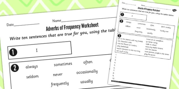 Writing Sentences Using Adverbs of Frequency Worksheet - adverbs
