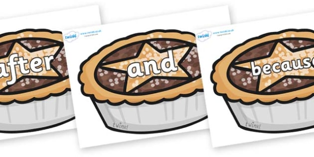 Connectives on Mince Pies - Connectives, VCOP, connective resources, connectives display words, connective displays