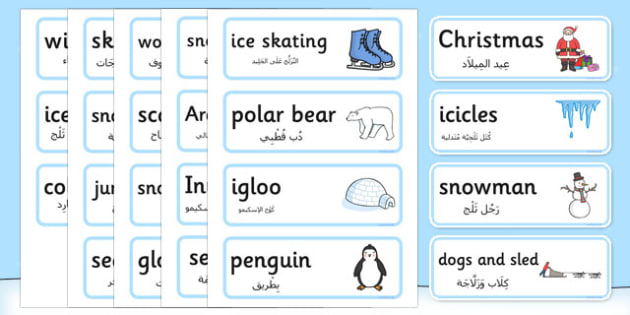 Winter Topic Word Cards Arabic Translation - arabic, winter, topic, season, word cards, word, cards