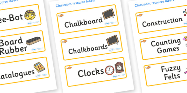 Goldfish Themed Editable Additional Classroom Resource Labels - Themed Label template, Resource Label, Name Labels, Editable Labels, Drawer Labels, KS1 Labels, Foundation Labels, Foundation Stage Labels, Teaching Labels, Resource Labels, Tray Labels,