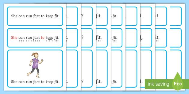 Keep Fit Simple Sentence Cards - Sentences, sentence cards, reading, phonics, eyfs, literacy