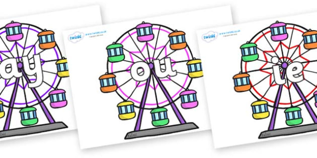 Phase 5 Phonemes on Ferris Wheels - Phonemes, phoneme, Phase 5, Phase five, Foundation, Literacy, Letters and Sounds, DfES, display
