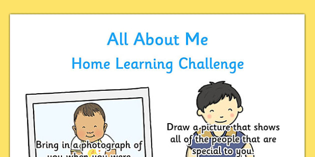 EYFS All About Me Home Learning Challenge Sheet Nursery FS1 - all about me