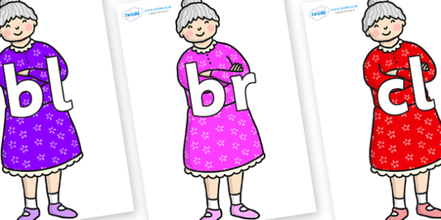 Initial Letter Blends on Enormous Turnip Old Woman - Initial Letters, initial letter, letter blend, letter blends, consonant, consonants, digraph, trigraph, literacy, alphabet, letters, foundation stage literacy