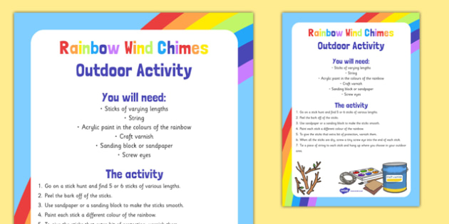 Rainbow Wind Chimes Outdoor Activity - colours, display, nature, sound, music, wind, primary, outdoor, craft