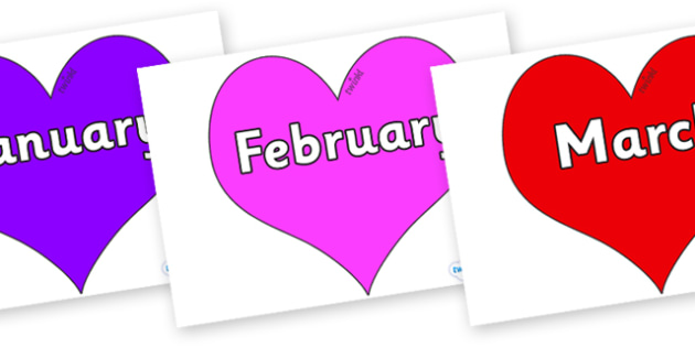Months of the Year on Hearts (Multicolour) - Months of the Year, Months poster, Months display, display, poster, frieze, Months, month, January, February, March, April, May, June, July, August, September