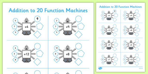 Addition to 20 Function Machines - CfE, function machines, addition