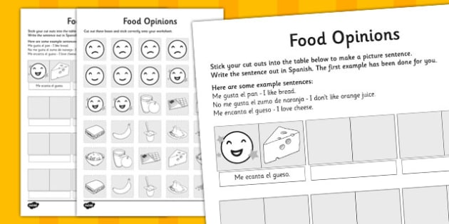Spanish Food Like Dislike Opinions Cut Out Activity - activities