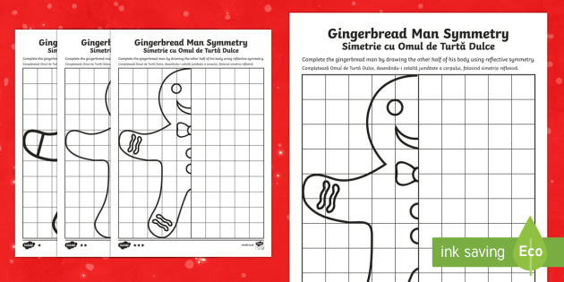Gingerbread Man Symmetry Differentiated Activity Sheets Romanian Translation - Christmas N.I. shape, symmetry, gingerbread man, reflective, line of symmetry, symmetrical design, s
