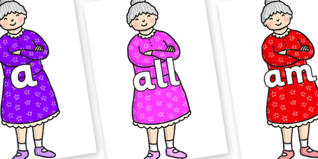 Foundation Stage 2 Keywords on Enormous Turnip Old Woman - FS2, CLL, keywords, Communication language and literacy,  Display, Key words, high frequency words, foundation stage literacy, DfES Letters and Sounds, Letters and Sounds, spelling
