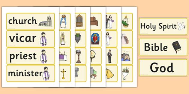Christian Church Word Cards - Church, Christian, God Jesus, word card, flashcards, minister, Vicar, bible, bells, organ, Sunday, cross
