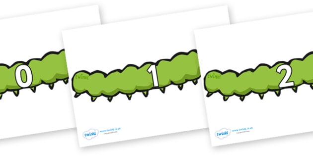 Numbers 0-50 on Caterpillars - 0-50, foundation stage numeracy, Number recognition, Number flashcards, counting, number frieze, Display numbers, number posters