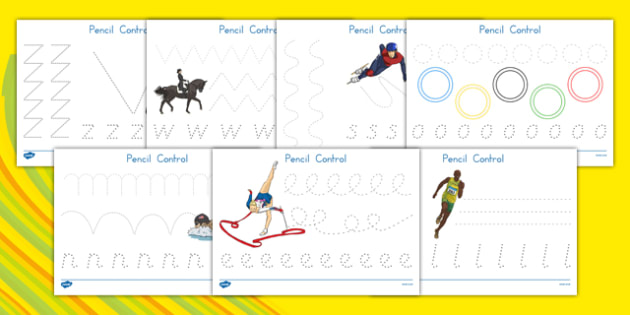 USA Olympics Pencil Control Activity Sheets - pencil control, olympics, worksheet