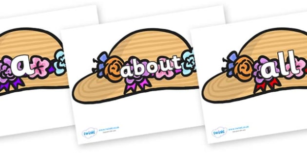 100 High Frequency Words on Bonnets - High frequency words, hfw, DfES Letters and Sounds, Letters and Sounds, display words