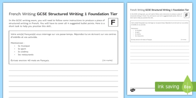 GCSE French Structured Writing 1 Foundation Tier Activity Sheet