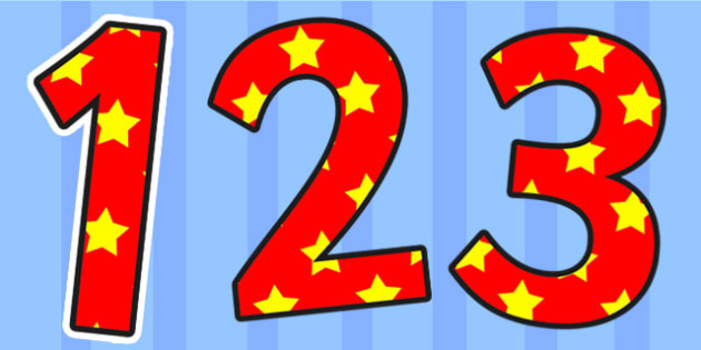 Red and Yellow Stars Small Display Numbers - stars,  numbers