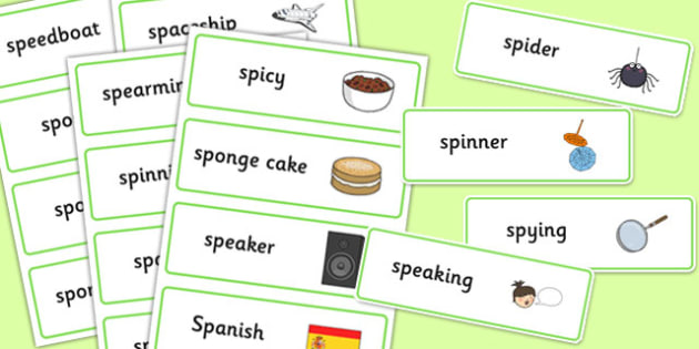 Two Syllable SP Word Cards - sp, syllable, sen, sound, word cards