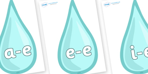Modifying E Letters on Water Drops - Modifying E, letters, modify, Phase 5, Phase five, alternative spellings for phonemes, DfES letters and Sounds
