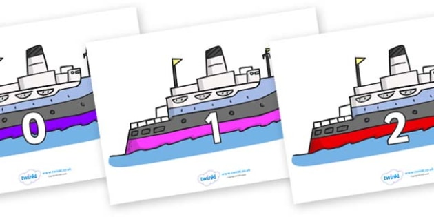 Numbers 0-31 on Boats - 0-31, foundation stage numeracy, Number recognition, Number flashcards, counting, number frieze, Display numbers, number posters