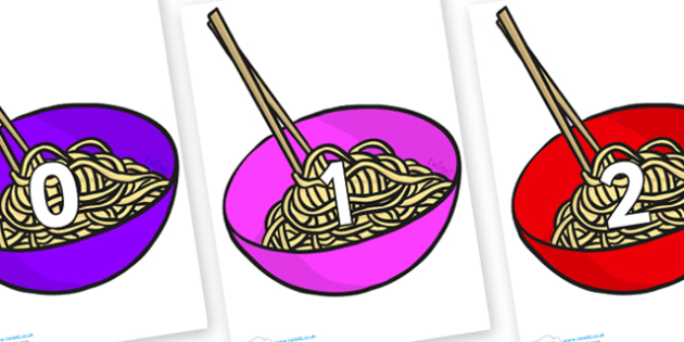 Numbers 0-100 on Chinese Noodles - 0-100, foundation stage numeracy, Number recognition, Number flashcards, counting, number frieze, Display numbers, number posters