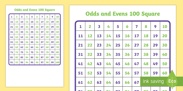 100 (Hundred) Square - Odds and Evens - Number square, hundred square, Counting, Numbers 0-100