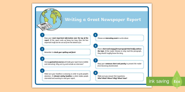 Newspaper Writing Tips Poster (Large) - newspaper writing, newspaper article, writing a newspaper report, how to write a newspaper report, ks2 writing, ks2