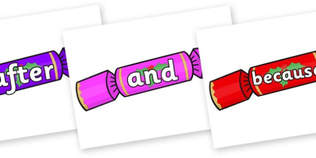 Connectives on Multicoloured Crackers - Connectives, VCOP, connective resources, connectives display words, connective displays
