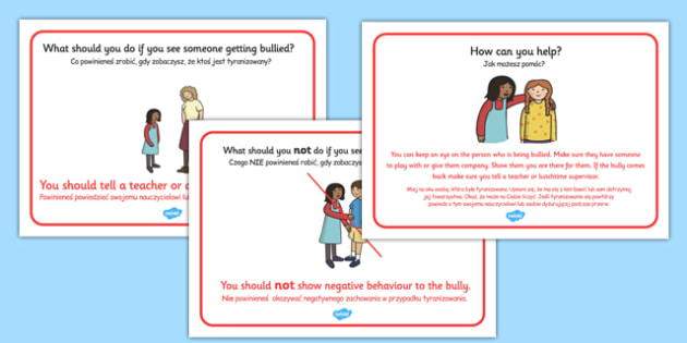 What To Do If You See Bullying Display Posters Polish Translation - polish, bullying, poster, display