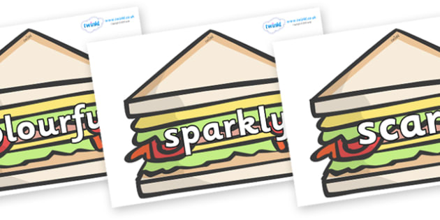 Wow Words on Sandwiches to Support Teaching on The Lighthouse Keeper's Lunch - Wow words, adjectives, VCOP, describing, Wow, display, poster, wow display, tasty, scary, ugly, beautiful, colourful sharp, bouncy