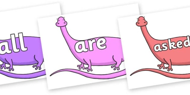 Tricky Words on Anchisaurus - Tricky words, DfES Letters and Sounds, Letters and sounds, display, words