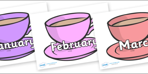 Months of the Year on Cups - Months of the Year, Months poster, Months display, display, poster, frieze, Months, month, January, February, March, April, May, June, July, August, September