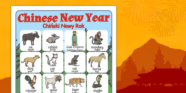 Chinese New Year Story Vocabulary Poster Polish Translation - polish, chinese new year, story, vocabulary, poster, display