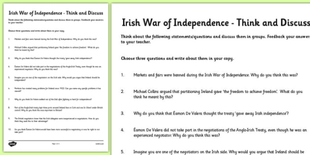 The Irish War of Independence Think and Discuss Worksheet - roi, irish, gaeilge, irish war of independence