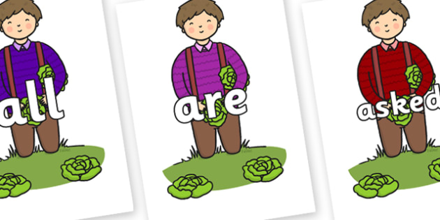 Tricky Words on Dad Picking Lettuces - Tricky words, DfES Letters and Sounds, Letters and sounds, display, words