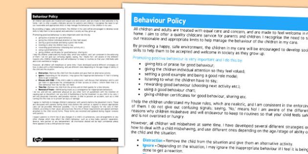 Behaviour Policy for Childminders - childminders, policy, child
