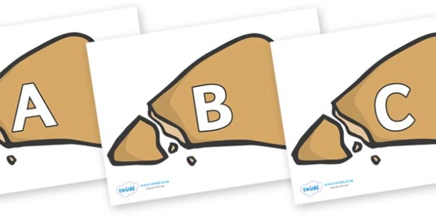 A-Z Alphabet on Egyptian Flatbread - A-Z, A4, display, Alphabet frieze, Display letters, Letter posters, A-Z letters, Alphabet flashcards