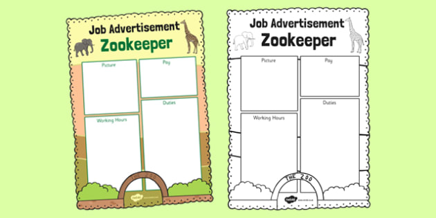 Zoo Job Advertisement Writing Frame - zoo, job, advertisement, role-play, play