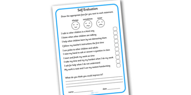 Self Evaluation Sheet - evaluation, self evaluation, self assessment, assessment, behaviour, behaviour assessment sheet, good behaviour evaluation