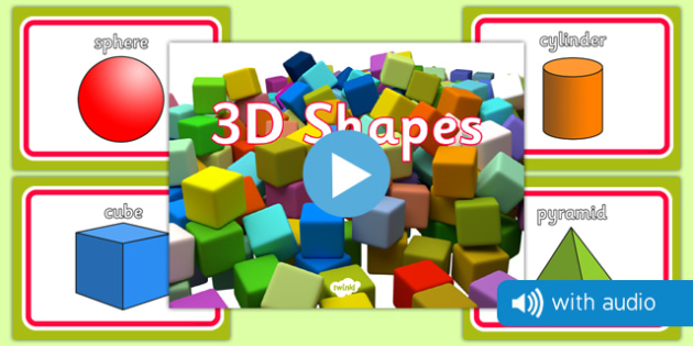 3D Shape Audio Flashcards - 3d shapes, audio, sound, flash cards