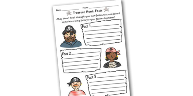 Fact Hunt Worksheet Pirate Theme - worksheets, worksheet, work sheet, fact hunt, facts, find the facts, pirate theme, pirate worksheet, pirates, sheets, activity, writing frame, filling in, writing activity, KS2