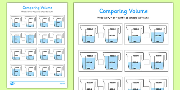 Comparing Volume Activity Sheet Pack - comparing capactity, activity sheets, activity, sheets, compare, capacity, worksheet