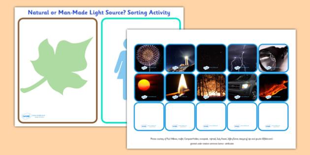 Natural and Man Made Light Source Sorting Activity - sorting activity, light source, natural and man made, natural and man made light source, light