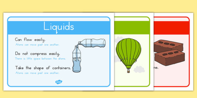 Solids Liquids and Gases Posters - materials, properties, science, australia, change, freeze, melt, water, atoms, particles, movement, space, ks2, key stage, junior, display