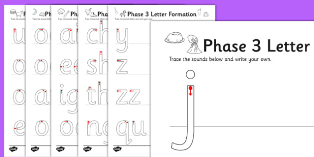 Phase 3 Letters and Sounds Formation Worksheets - phase 3, letters, sounds, formation