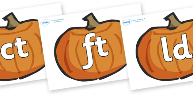 Final Letter Blends on Pumpkins - Final Letters, final letter, letter blend, letter blends, consonant, consonants, digraph, trigraph, literacy, alphabet, letters, foundation stage literacy