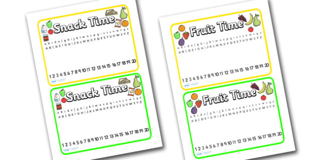 Editable snack fruit time placemats - snack time, placemat, snack, mat, snack mat, fruit