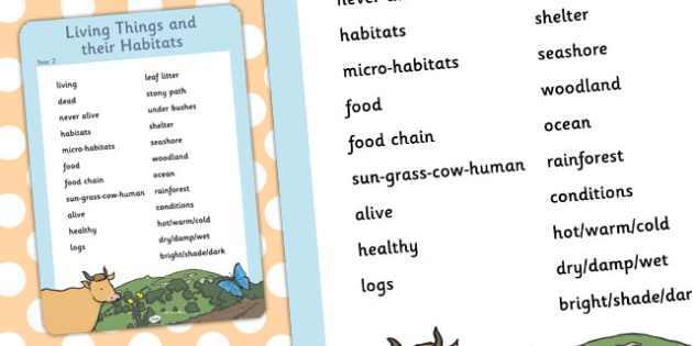 Year 2 Living Things and Habitats Scientific Vocabulary Poster